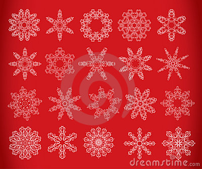 Snowflake set on red