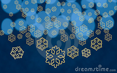 Snowflake shapes against tree lights