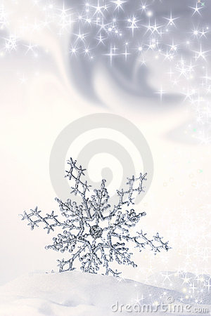 Snowflake in the snow/ blue