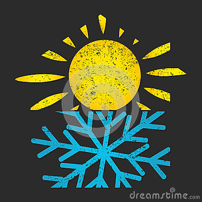 Snowflake and sun air conditioning for home Vector Illustration