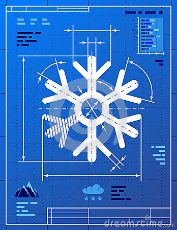 Snowflake symbol like blueprint drawing