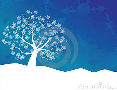 White abstract swirly tree with snowflake leaves and snow drift ...