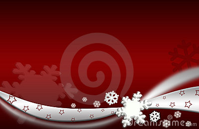 Snowflake xmas Illustration silver red background