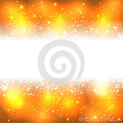 Snowflakes banner on golden background