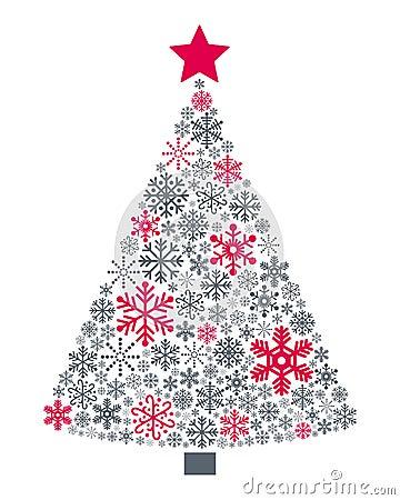 Free Snowflakes Christmas Tree Royalty Free Stock Photo - 35415195