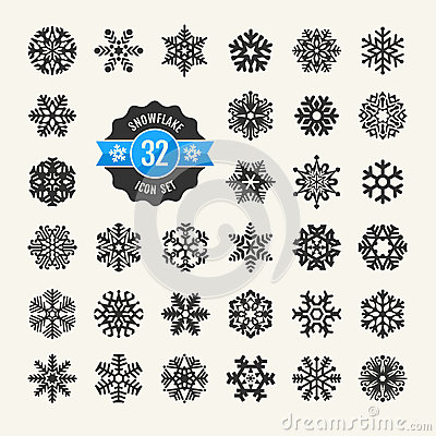 Free Snowflakes Icon Set Royalty Free Stock Images - 35612609