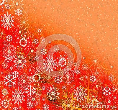 Snowflakes on joyful background