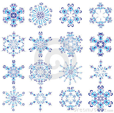 Snowflakes poured by different colours