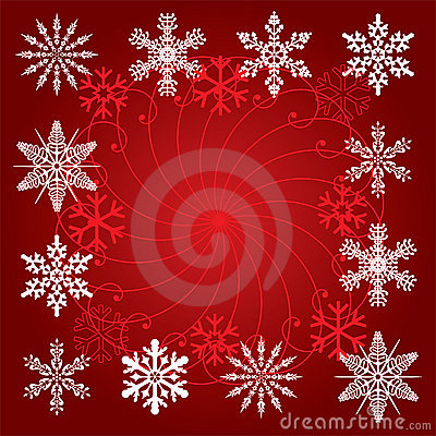 Snowflakes on red background