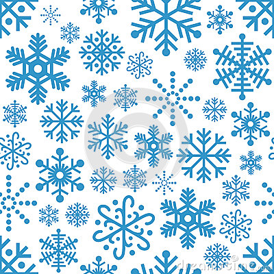 Snowflakes Seamless Pattern Vector Illustration