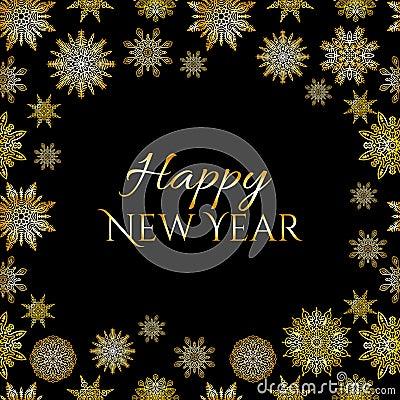 Free Snowflakes Vector Postcard Design. Winter Corner Round Frame In Black Background Stock Image - 96518111