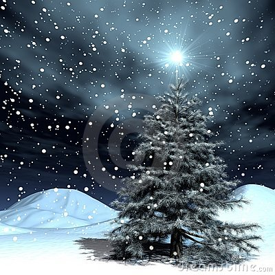 Snowing Christmas Stock Photo - Image: 1146980