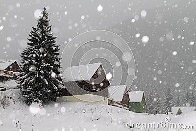 Snowing in winter