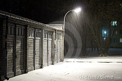 Snowing in winter night