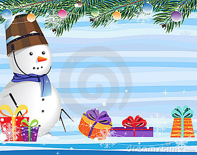 Snowman on a abstract striped background
