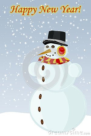 Snowman New Year, the vector image Stock Photo