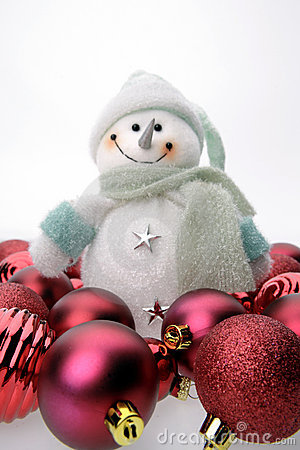 Free Snowman And Christmas Balls Royalty Free Stock Images - 2999209