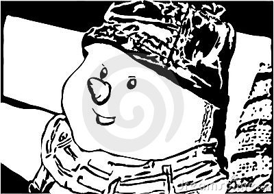 Snowman as black and white piture to color