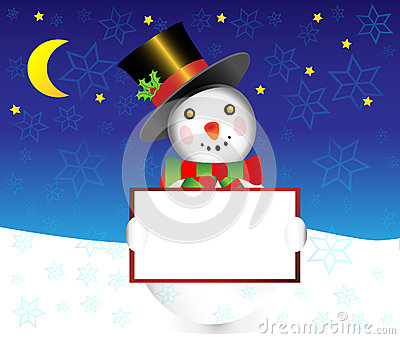 Snowman with banner christmas  illustration
