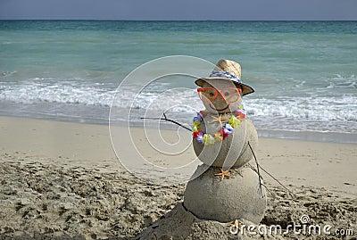 Snowman on beach