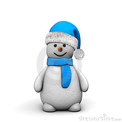 Snowman In Blue Hat And Scarf Stock Photography - Image: 20855202