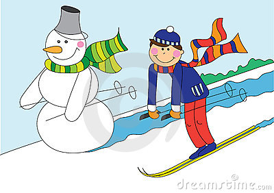 Snowman and boy skiing