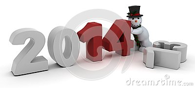 Snowman bringing in the new year