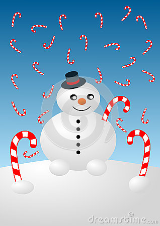 Snowman and Candy Canes Christmas Card
