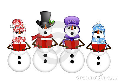 Snowman Carolers Sing Christmas Songs Illustration