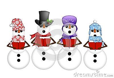 Snowman Carolers Sing Christmas Songs Illustration