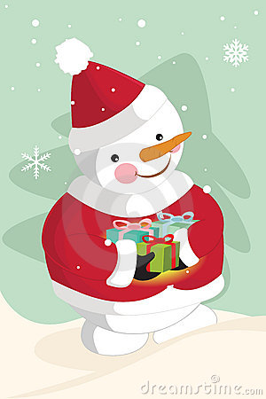 Snowman carrying christmas gifts