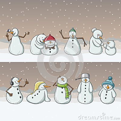 Snowman cartoon characters, standing in row in snowfall for Christmas Vector Illustration