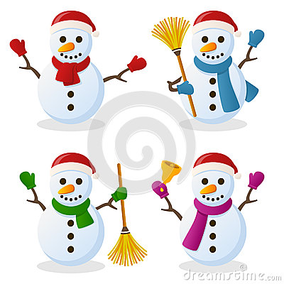 Free Snowman Cartoon Christmas Set Royalty Free Stock Photo - 35098395