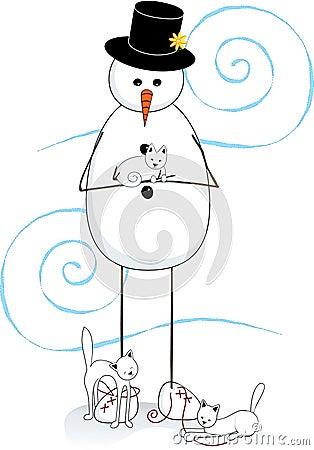 Snowman & Cats