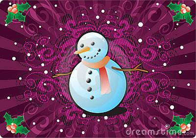 Snowman in CHristmas Background