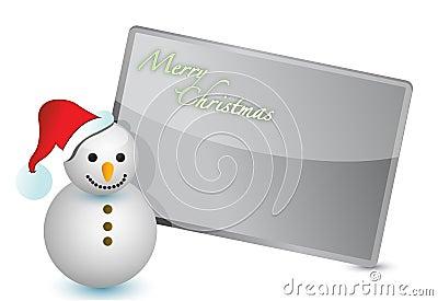 Snowman christmas card illustration design