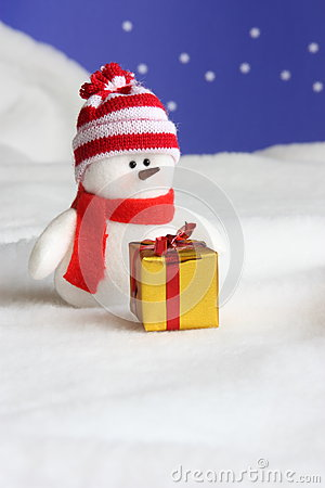 Snowman Christmas Card - Stock Photo