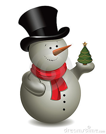 Snowman with Christmas tree. Vector.