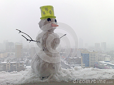 Snowman in the city