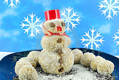 Snowman coconut cookie