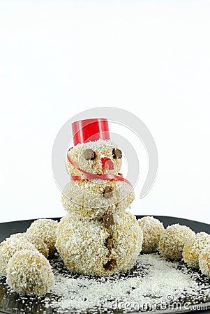 Snowman coconut cookie