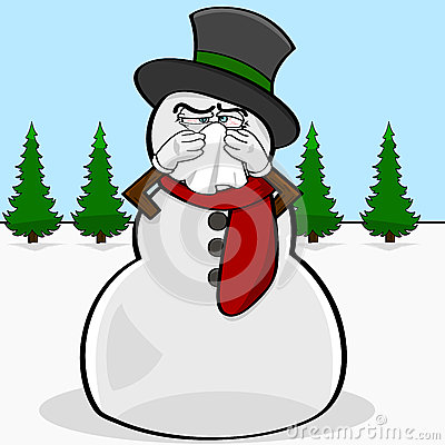 Snowman with a cold