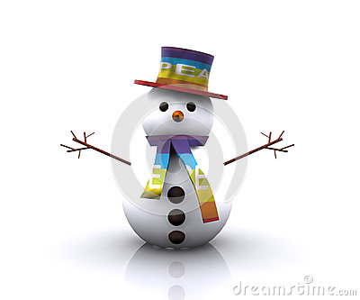 Snowman with the colors of the flag of Peace