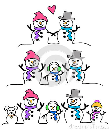 Snowman Couple and Family/eps
