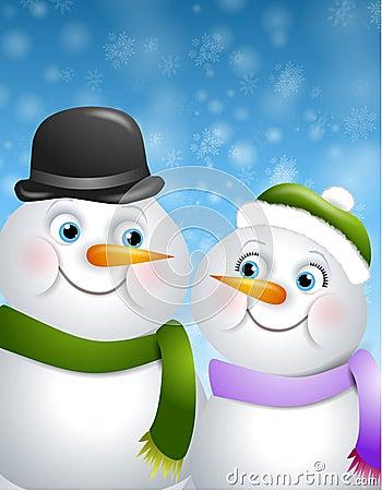 Snowman Couple in Love