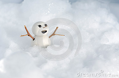 Snowman Doll on Ice