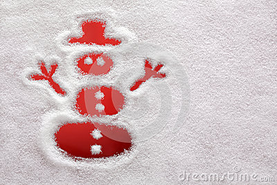 Snowman drawn in the snow