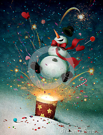 Free Snowman Emitted From Firecrackers Royalty Free Stock Photography - 28025527