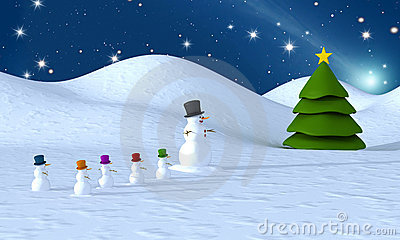 Snowman family and christmas tree