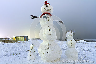 Snowman family on the meadow at night